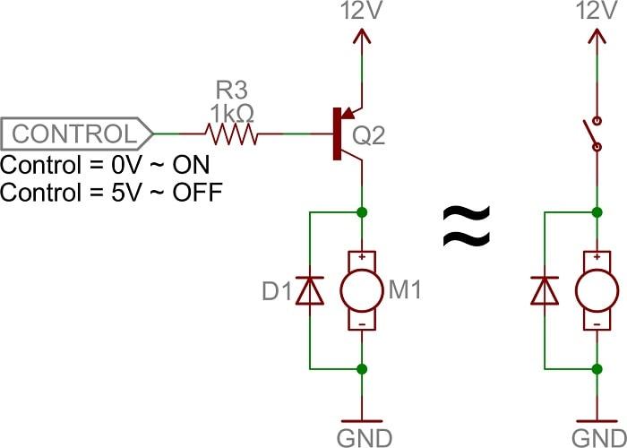 کاربرد ترانزیستور BJT از نوع PNP به عنوان سوئیچ