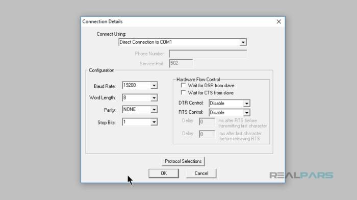 تنظیمات پورت سریال COM برنامه slave در پروتکل مدباس