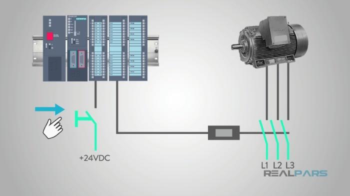 دکمه فشاری به عنوان ورودی- سیستم رله