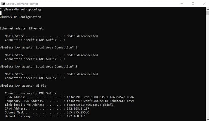 محیط cmd برای کنترل لامپ با ESP8266