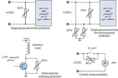 نحوه قرارگیری وریستور و محافظت در مدار