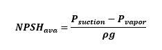 فرمول ان پی اس اچ در دسترس NPSHA