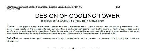 مقاله طراحی برج خنک کننده