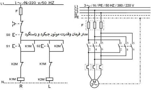 مدار فرمان قدرت موتور چپگرد راستگرد