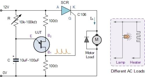مدار کنترل سرعت با ujt
