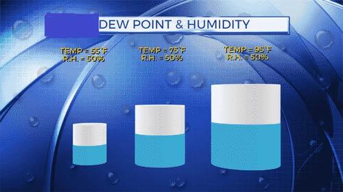 بررسی تفاوت dew point و humidity