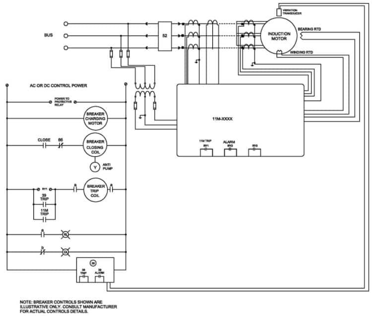 دیاگرام سه خطی حفاظت موتورهای الکتریکی MV